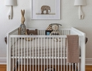 Eye–catching elephant print wallpaper animals in a soothing neutral room | 10 Animal inspired Kids Bedrooms - Tinyme Blog