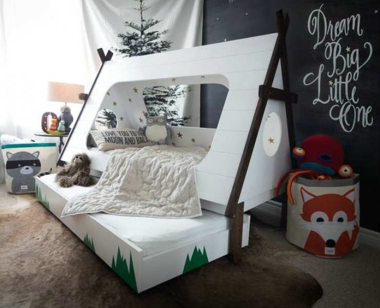 Interior Themed Bedrooms 10 camp themed bedrooms tinyme blog awesome looking toddler teepee bed under the stars tinyme
