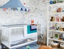 Gender neutral nursery covered in whimsical hand-printed wallpaper | 10 Colourful Nurseries - Tinyme Blog
