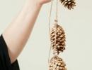 Sparkling gold Christmas pine cone décor | 10 Cute Christmas Garlands - Tinyme Blog