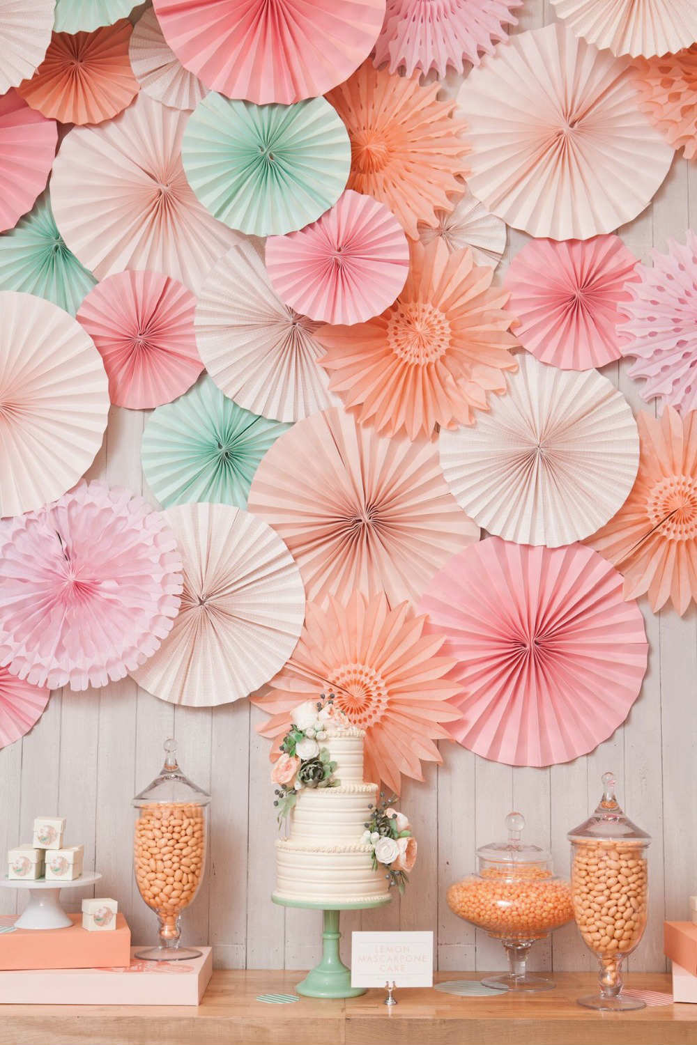 Love The Perfect Dose Of Sweetness Found In This Cake Table Backdrop