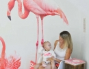 Adorable pink flamingo wall decal | 10 Tropical Kids Rooms - Tinyme Blog