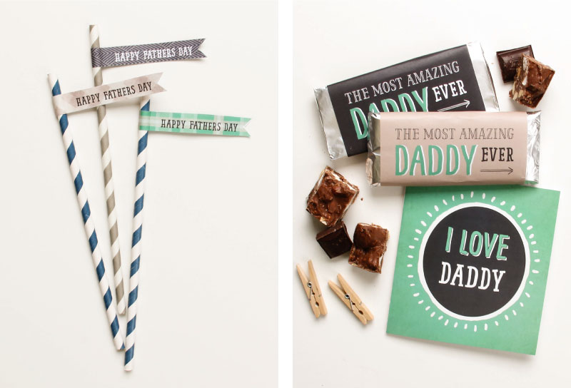 Free Fathers Day Printables - Straw Flags & Candy Wrappers | Tinyme Blog