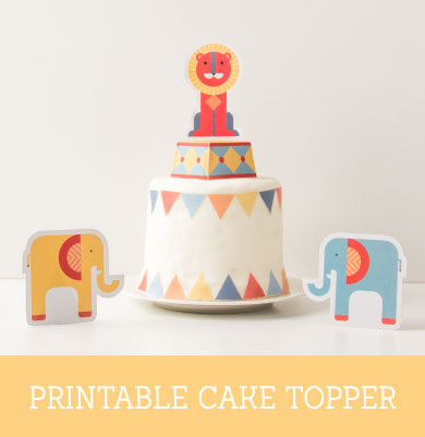 Geo Circus Party Printable Cake Topper | Tinyme Blog