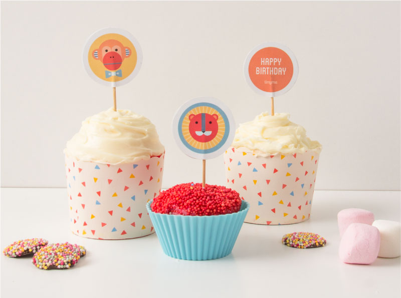 Geo Circus Party Printable Cupcake Toppers | Tinyme Blog