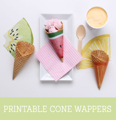 'Feeling Fruity' Free Printable Icecream Cone Wrappers | Tinyme Blog