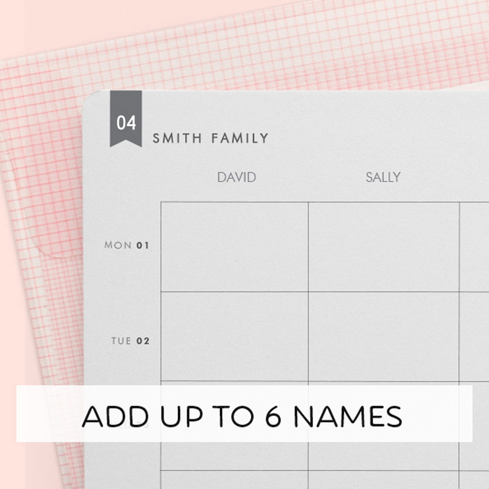 Tinyme personalised horizontal family diary