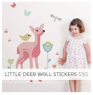 Removable Fabric Wall Decals. Little Deer Pack.